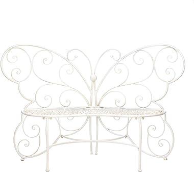 FA Decors Fancy Butterfly Metal Scroll Garden Patio Bench