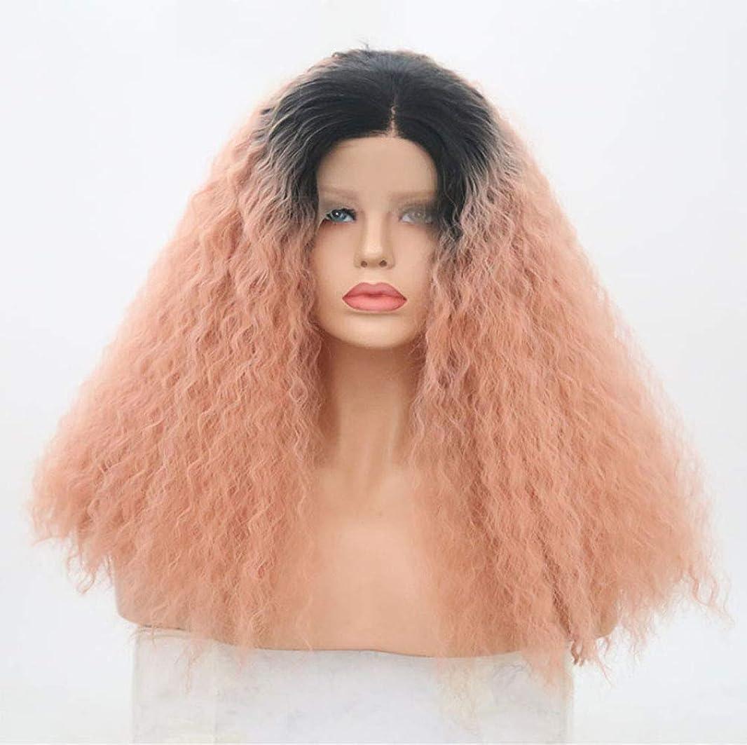 テレビを見る劣る予算女性合成レースフロントウィッグ天然毛髪180%密度長い巻き毛