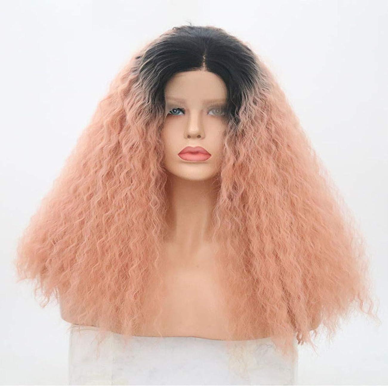 署名退化するプット女性合成レースフロントウィッグ天然毛髪180%密度長い巻き毛