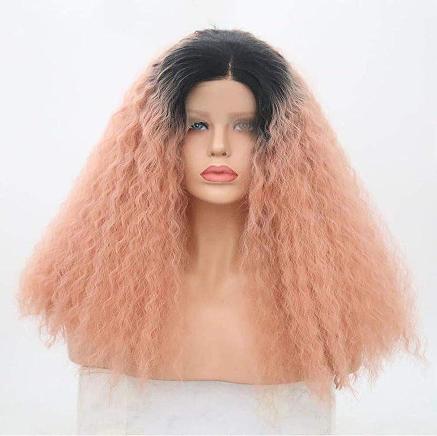 肺炎ゴールドよろめく女性合成レースフロントウィッグ天然毛髪180%密度長い巻き毛