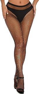 Fishnet Stockings Rhinestone High Waist Sparkly Tights...