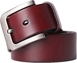 Men's Belt Genuine Leather Casual Dress Belt with Classic Buckle Fashion (Color : Red Brown, Size : XL)