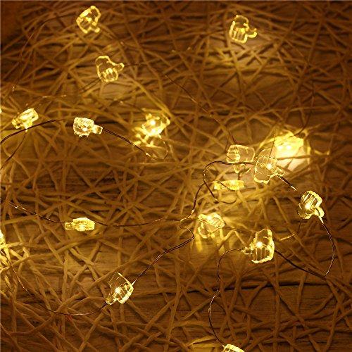 LEEDY - Guirnalda de 20 luces LED, decoración para el hogar, jardín, luces de batería, Navidad, boda, fiesta,...