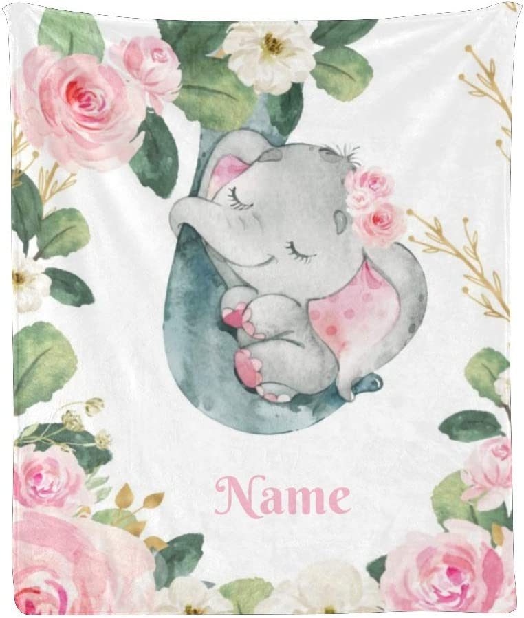 CUXWEOT Personalized New product Blanket with Name Floral Text Elepha Luxury Custom