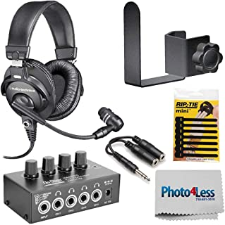 Audio-Technica Broadcast Stereo Headset w/Dynamic Boom Microphone +HA4000 Pro Headphone Amplifier + 1/4 TRS Cable + Clamp On Accessory Holder + Cleaning Cloth + Cable Tie