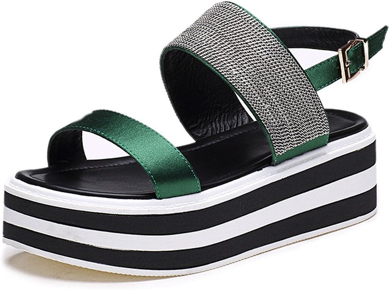 CYBLING Women Platform Sandals Summer Stylish High Top Wedge Sandal Green