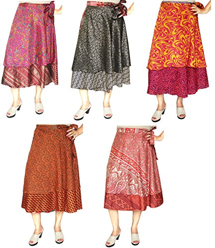 Wholesale 5 PC-Los Der Frauen Indischen Sari Magie Wrap Around Langer Rock