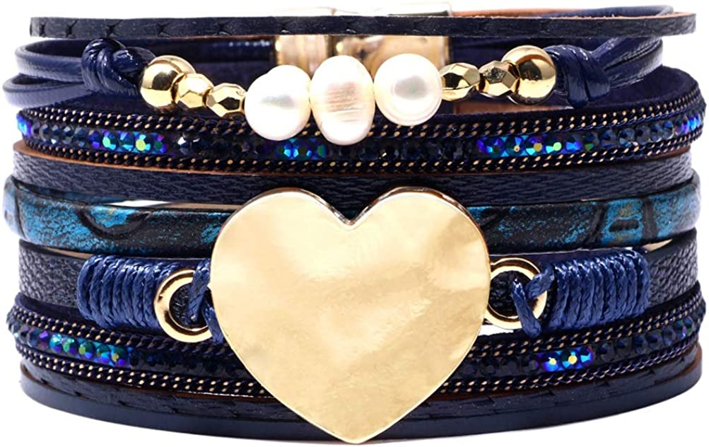 INMOFN Sexy Women Leather Cuff Bracelet Love Heart Multilayer Wrist-Band Wrap Bangle Handmade Charm Bracelets with Magnetic Clasp
