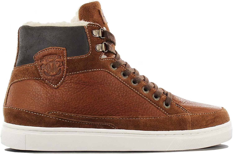 McGregor New-York Bakersfield Leather Cognac-Brown Men Winter Trainers Boots Sneaker shoes
