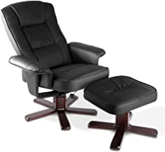 MODAA 2pcs Black PU Leather Lounge Chair and Ottoman Set, High Back Design with Extra Thick Padding 360 Degree Swivel Recl...