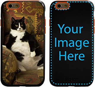 Custom Cat Cases for iPhone 6 / 6s by Guard Dog - Personalized - Put Your Kitty on a Rugged Hybrid Phone Case. Includes Guard Glass Screen Protector. (Black, Orange)