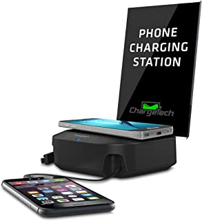 ChargeTech Wireless Charger Station - Charging Hub w/Wireless Qi Pad & 2 Charging Tips Included for Multiple Devices: iPhone, iPad, Samsung, Android Tablets (Model: CHW2) (Black)
