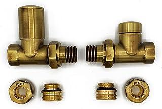 Derecho con Conexiones de Cobre (Cu) Elegante Latón Antiguo Regulando + Lockshield Válvula Radiador Conjunto