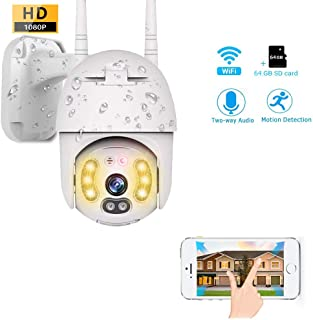 WiFi Security Camera Wireless Outdoor PTZ IP Dome Camera Waterproof Night Vision Two Way Audio Motion Detection Alarm Remote Intelligent + 64G SD Card