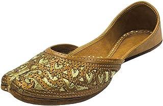Step n Style Ladies Copper Zari Work Punjabi Jutti Ethnic Mojari Handmade Leather Indain Jooti
