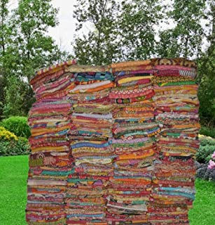 TEXTILLHUB Indian Wholesale Indian Tribal Kantha Quilt Vintage Handmade Blanket Patch Kantha Throw Hippie Bohemian Old Saree Made Kantha Rally Twin (Multi Color)