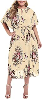 Maxi Dresses for Women, Limsea Plus Size Floral Printed Short Sleeve Casual Dress