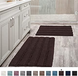 Extra Thick Chenille Striped Pattern Bath Rugs for Bathroom Non Slip - Soft Plush Shaggy Bath Mats for Bathroom Floor, Indoor Mats Rugs for Entryway(Chocolate, 32 x 20 Plus 24 x 17 - Inches)