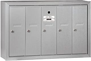 Salsbury Industries 3505ASU Surface Mounted Vertical Mailbox with 5 Doors and USPS Access, Aluminum