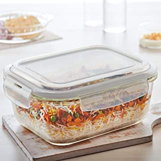 Borosil Klip N Store Glass Food Container, 120 Ml Rectangle, for Kitchen Storage with Air Tight Lid - Microwave Safe