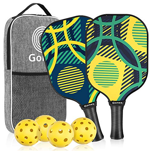 Gonex Pickleball Paddles Set of 2 Pickleball Racquet Lightweight Honeycomb Composite Core Pickleballs Paddle with 4 Pickleball Balls for Beginners to Professional