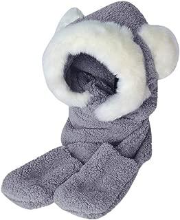 Clearance Womens Faux Fur Winter Warm Fluffy Hood Scarf Hat Snood Pocket Hats Gloves Chaofanjiancai