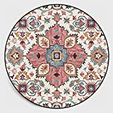 Sarah Duke Mandala Runde Teppich Vintage Boho Waschbar Teppich für Wohnzimmer Schlafzimmer Badezimmer Küche Beach Dekor (H,120 x 120cm)