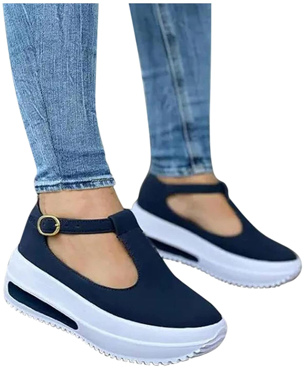 Gibobby Sandals for Women Casual Summer,2021 Platform Closed Toe Sandals Ankle Buckle Strap Athletic Outdoor Hiking Sandals