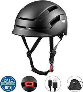 PHZ. Adult Bike Helmet, Cycling Helmet CPSC and CE Certified with Rear Light for Urban Commuter Adjustable Size for Adult Men/Women