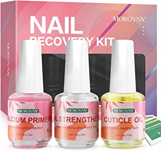 Morovan Nail Care Kit(Cuticle Oil+Nail Strengthener+Calcium Primer )Nail Recovery Kit,Professional Effective Nail Health Care Solution Assists with Chipping Peeling Brittle Finger nails,Strengthen and protection