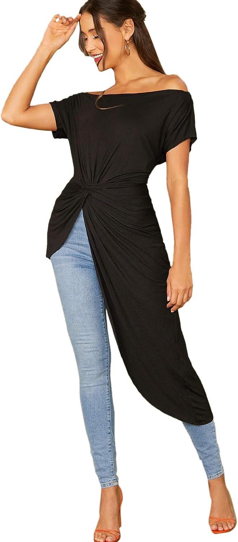 SheIn Women's Elegant Asymmetrical Twist Front Off Shoulder Top Plain High Low Blouse