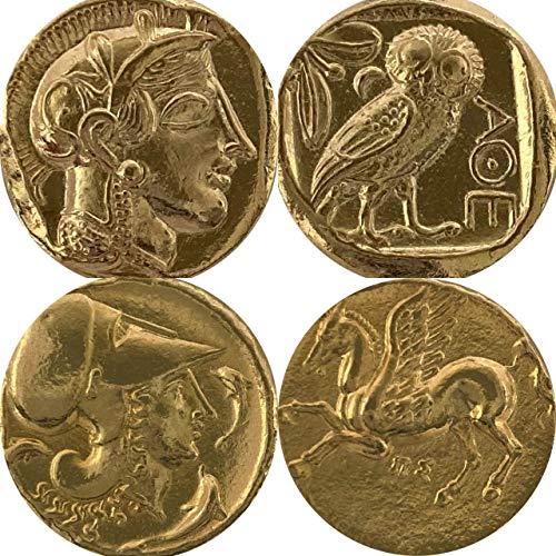 Golden Artifacts Percy Jackson Teen Gift, Athena/Owl /Pegasus, 2 Greek Coins of Athena, Unique Gift, Greek Mythology (PJ2+12-G)