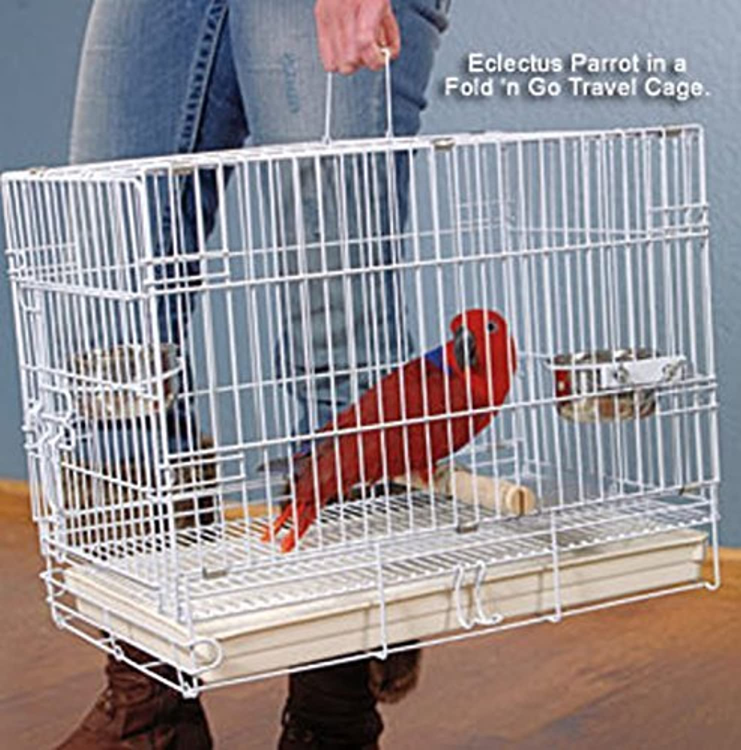 Collapsible Travel Bird Cage 24 L16.5W 20.5H White by Mcage