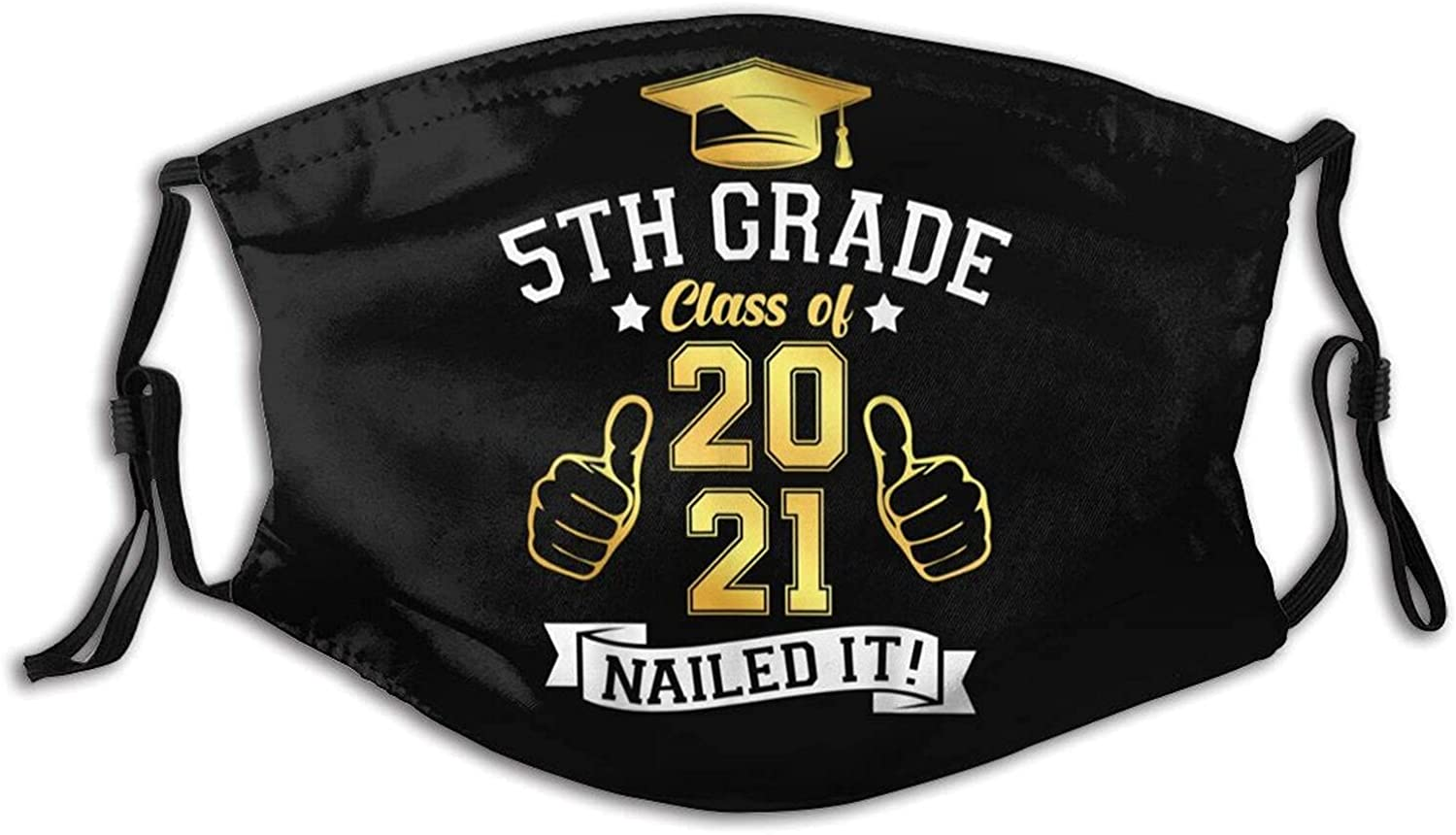 Students Graduation 5th Grade Class of 2021 Funny Face Mask Reusable Adjustable with Filter Pocket Bandanas for Women and Men Balaclava