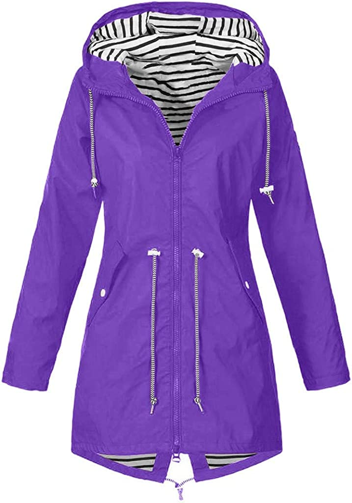 Keepmove Women's Solid Rain Outdoor Max 63% OFF Jackets Jacket Finally resale start Waterpro