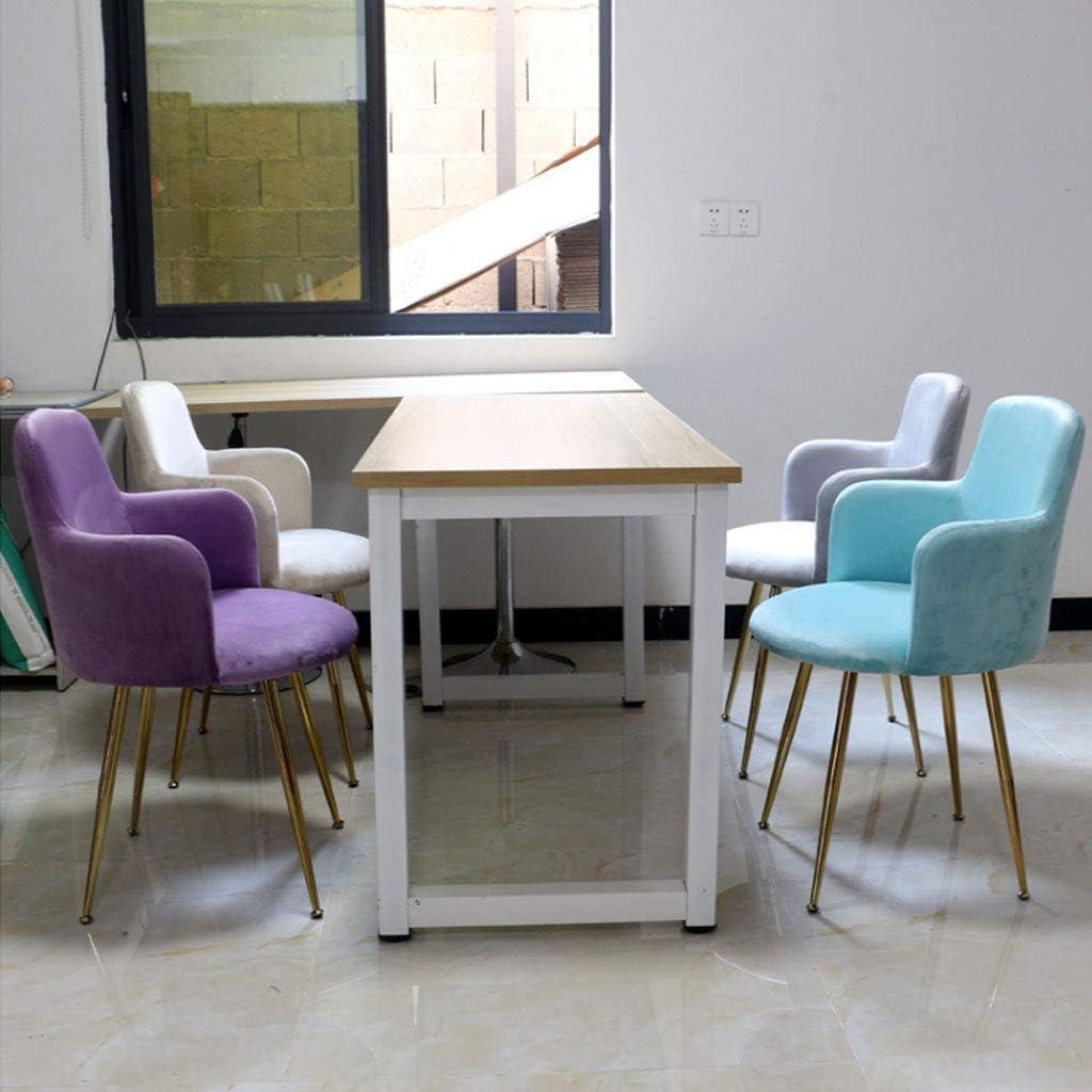 HTL Bureau Chaise de Chaises Pour Manger Salon Chambre Nordique Fer Forgé Chaise Chair, Velours Fauteuil W/Noir Pieds En Métal/Large Dossier, (44Cmx44Cmx82Cm) Confortable,# 3 # 2
