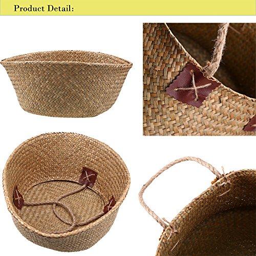 Natürliches Seegras gewebtes Bauchkorb, Goodchanceuk 3/Set Blumentopf Korb mit Griff Garten Wäschekorb Container Home - 3