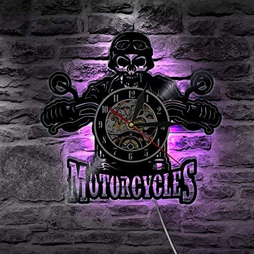 CCGGG Skull in Helmet Racing Motocicleta Reloj de Pared Racer Skull Biking Disco de Vinilo Reloj de Pared decoración del hogar de Halloween Skull Rider Clock
