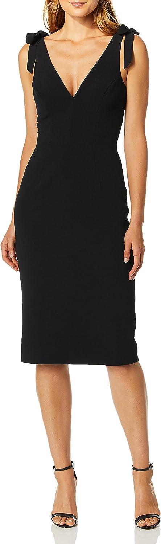 Dress the Population Women's Lita Sleeveless Plunging Midi Sheath Dress w Bows, Black, S