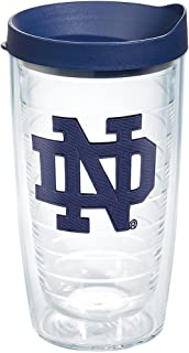 Tervis 1275053 Notre Dame Fighting Irish Interlocking Tumbler with Emblem and Navy Lid 16oz, Clear