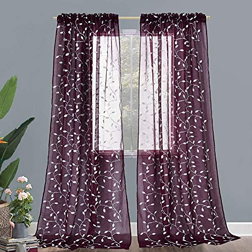 KEQIAOSUOCAI Burgundy and White Leaf Semi Sheer Curtains for Living Room 2 Panels Faux Linen Embroidered Sheer Curtains for Bedroom 52x95