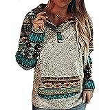 HYPOWELL Women's Western Ethnic Print Comfy Hoodie Fashion Long Sleeve Hooded Sweatshirts for Women (L, Green)