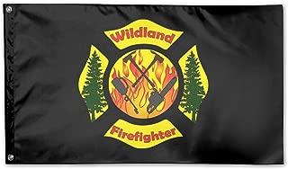 UDSNIS Wildland Firefighter Garden Flag 3 X 5 Flag For Yard Decorative Banner Black