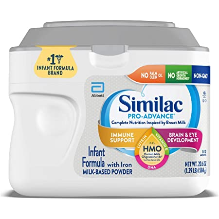 Similac Pro-Advance Infant Formula with Iron, with 2'-FL HMO for Immune Support, Non-GMO, Baby Formula Powder, 20.6-Ounce Tub