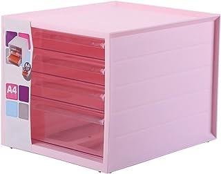 Boîte de Rangement pour classeurs 4 Couches Multicouches Transparentes A4 Débris cosmétiques (Couleur : Pink)