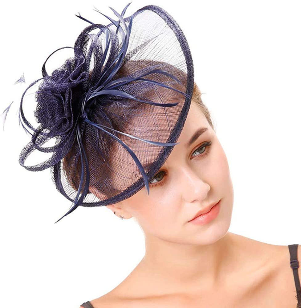 CHUANGLI Flower Derby Tea Party Sinamay Fascinators Hat Cap Headwear with Hair Clip and Hairband