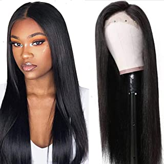 UNice Hair 13x6 Straight Lace Front Human Hair Wigs, Unprocessed Brazilian Virgin Hair Free Part Wig, Pre Plucked with Baby Hair 150% Density Natural Color (24 inch)