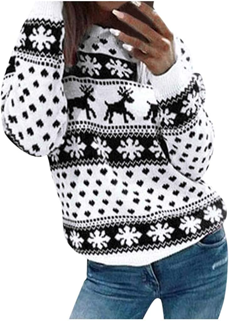 VEKDONE Women Ugly Christmas Sweater Long Sleeve Funny Christmas Tree Reindeer Holiday Knit Sweater Pullover