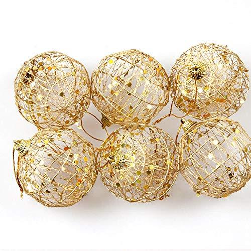 DONGXIAN 6PCS Forma de círculo Ámbar Árbol de Navidad Colgante Bola Colgante Oro Bolas de Navidad Decoración Ajuste Ajuste para Navidad Hogar Bodas Decoración (Color : 6cm)