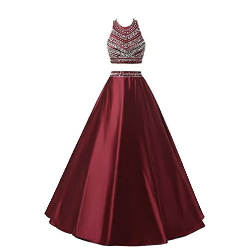 3a41f650ee Himoda Women s Two Pieces Beaded Evening Gowns Satin Sequined Prom Dresses  Long H052